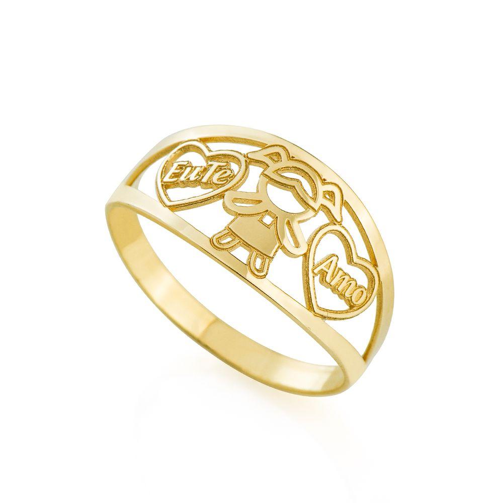 Anel em Ouro 18k Menina com Coração Eu Te Amo - joiasgold cc47fe9156f