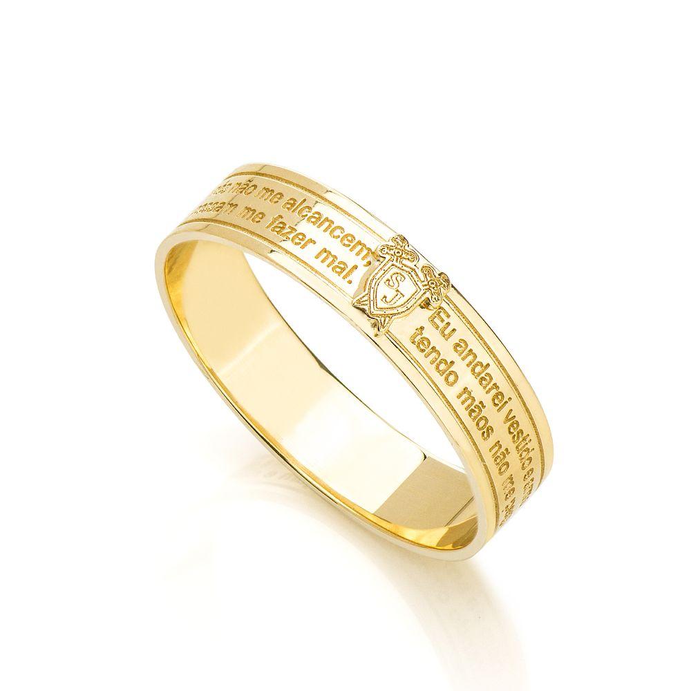 Anel em Ouro 18k São Jorge com Oração an34803 - joiasgold 67404b3f38