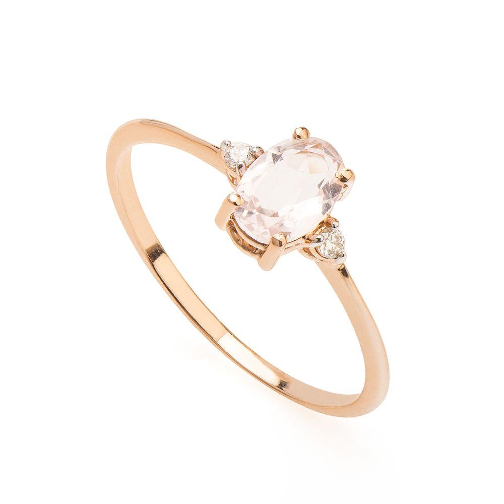 Anel em Ouro Rosê 18k Quartzo Rosa com Diamantes - joiasgold c381f09f85