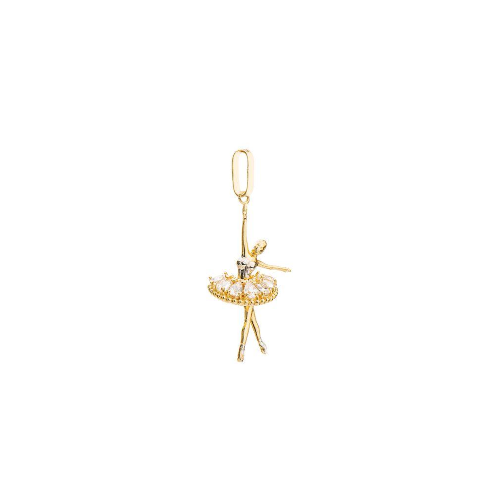 Pingente em Ouro 18k Bailarina com Zircônia Branca pi19329 - joiasgold d5566b1aab