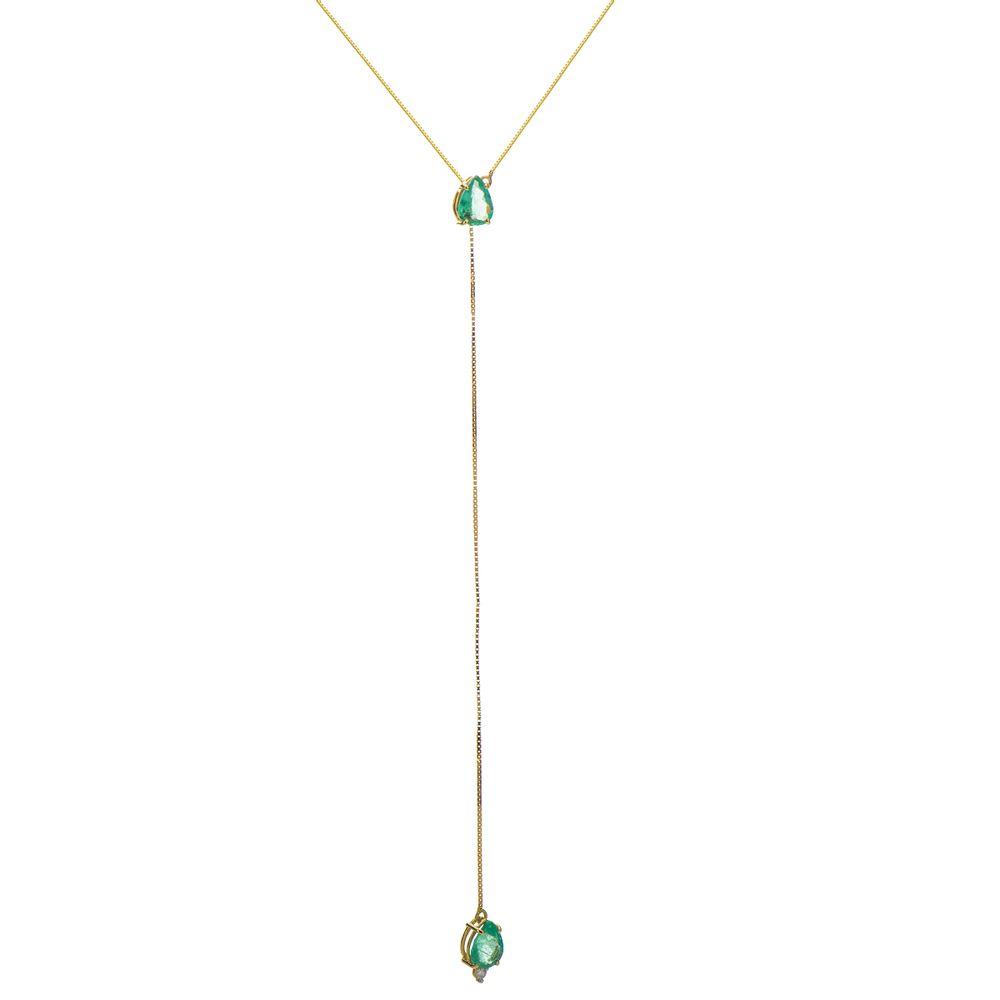 5b2beaf5fc75d Gargantilha em Ouro 18k Gravata com Esmeralda e Diamante de 60cm ...