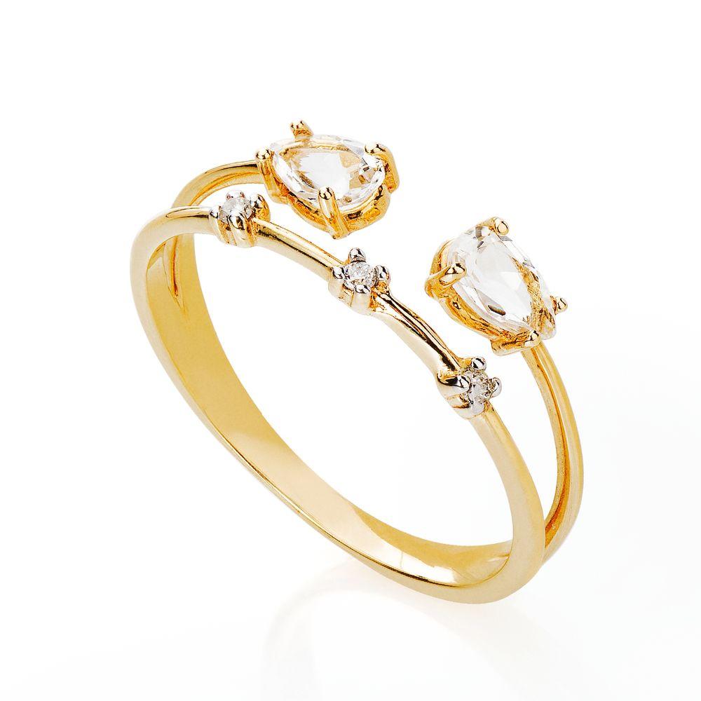 ecca5deeabc22 Anel em Ouro 18k Cristal Gota com Diamantes an34614 - joiasgold