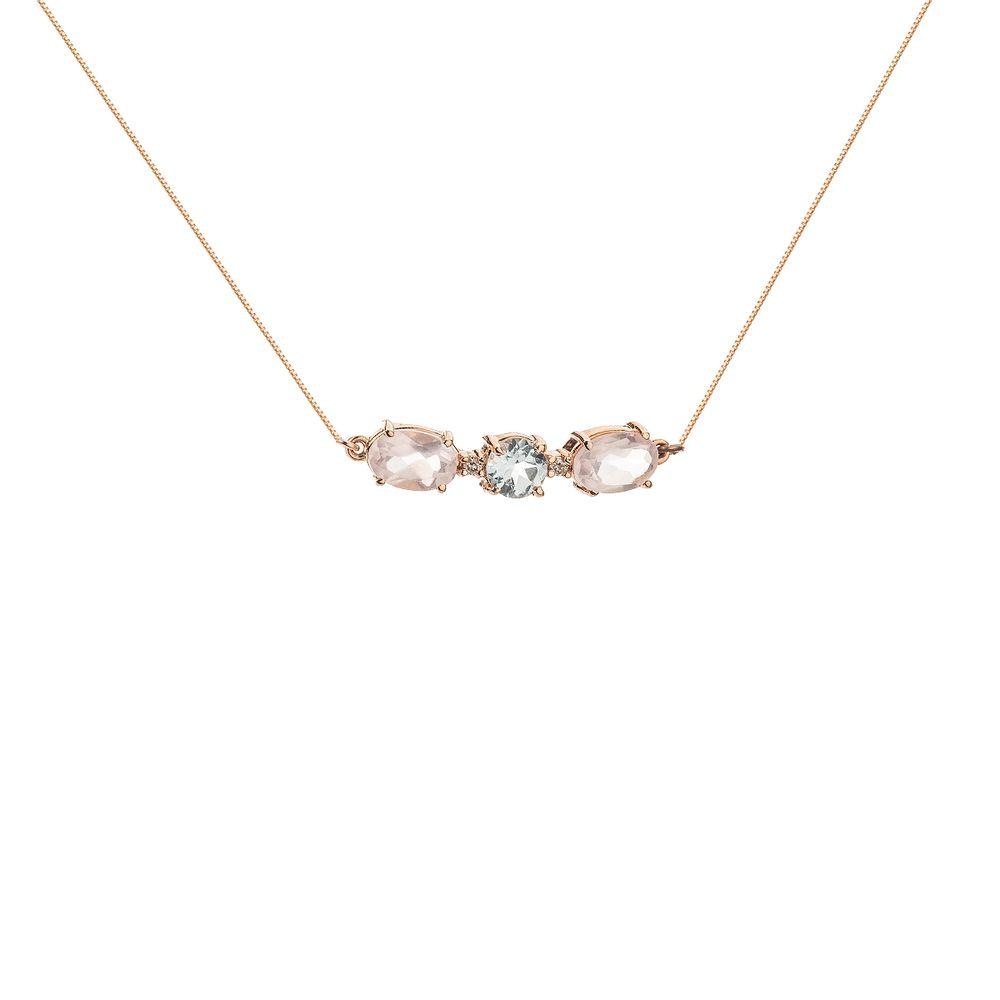 Gargantilha em Ouro Rosê 18k Choker Quartzo, Topázio e Diamante ... e82ed498e8