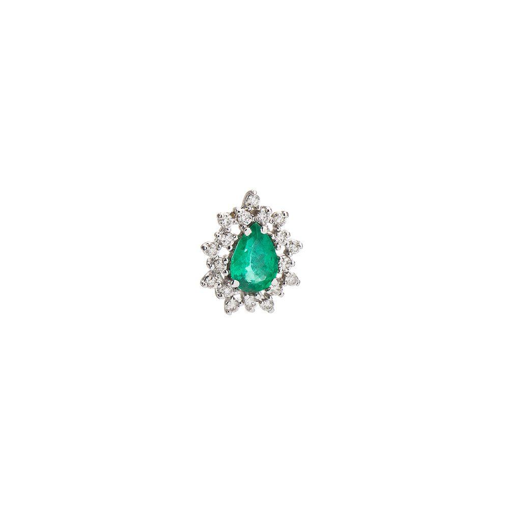 3d73712b0aeff Pingente em Ouro Branco 18k Gota Esmeralda com Diamantes pi19344 ...