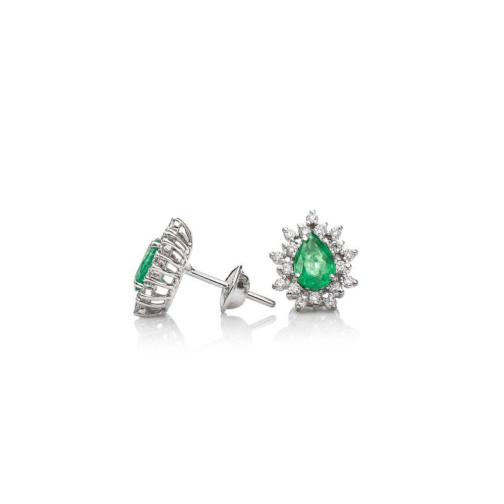 464fe0ce91b Brinco em Ouro Branco 18k Gota Esmeralda com Diamantes br22839 ...