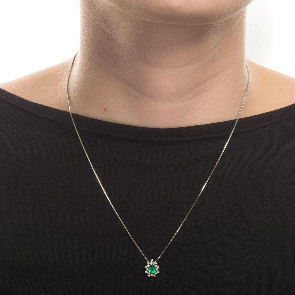 5f7b8c652a7dc Pingente em Ouro Branco 18k Gota Esmeralda com Diamantes pi19344 ...