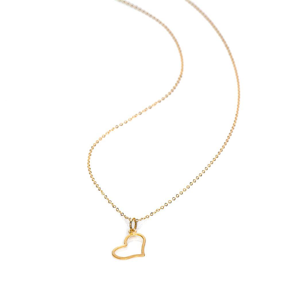 f9f6393204704 Gargantilha em Ouro 18k Americana 45cm Coração Vazado ga04383 ...