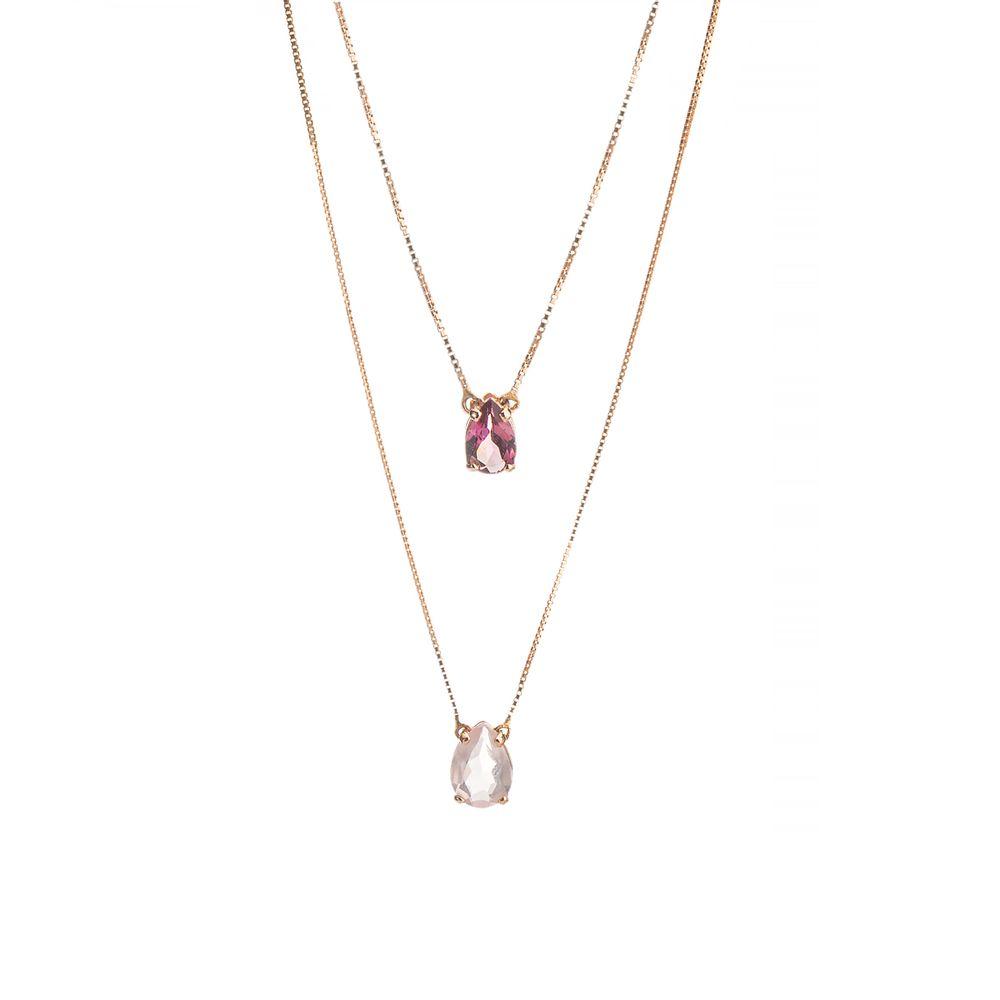 Escapulário em Ouro Rosê 18k Turmalina Rosa com Quartzo Rosa ga04185 ... 4577b282bb