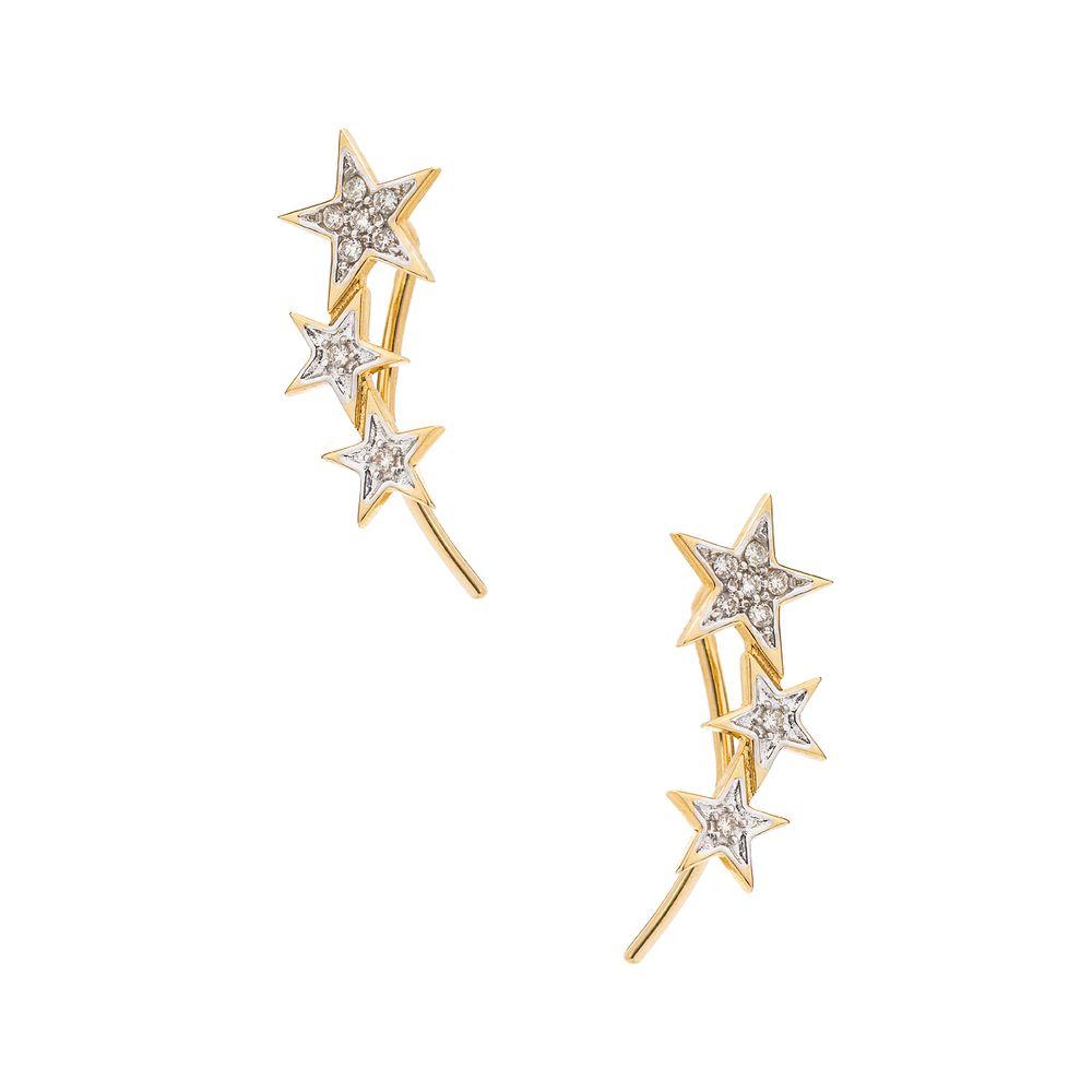 950a39990d879 Brinco em Ouro 18k Ear cuff Estrelas com Diamantes br22423 - joiasgold