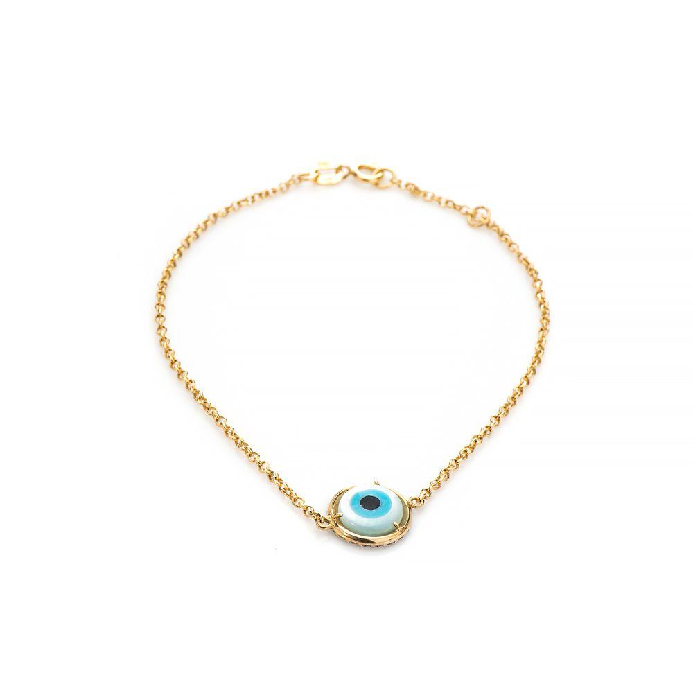 97e06ae51f2ce Pulseira em Ouro 18k Olho Grego com Zircônia de 18cm pu04450 - joiasgold