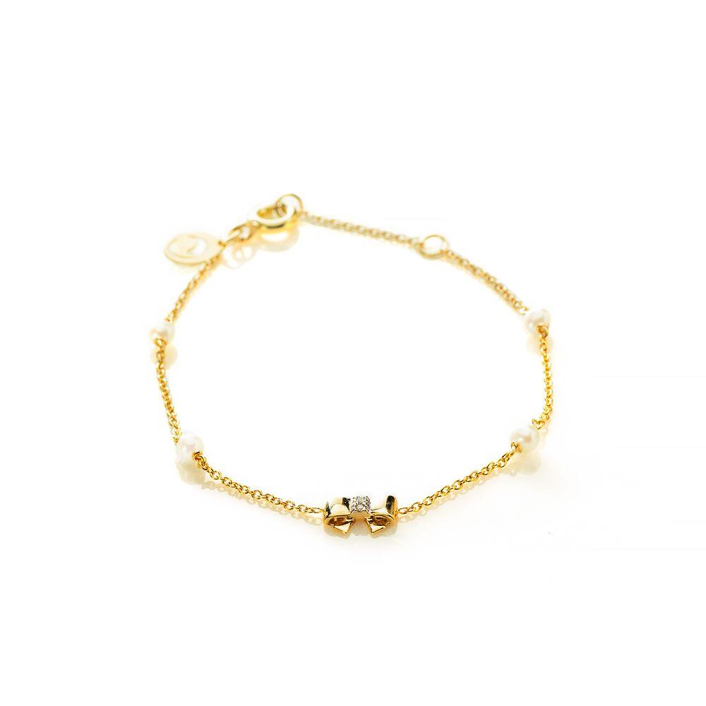 b7ac549c5bd Pulseira em Ouro 18k Infantil Laço com Pérola e Diamantes pu04680 ...