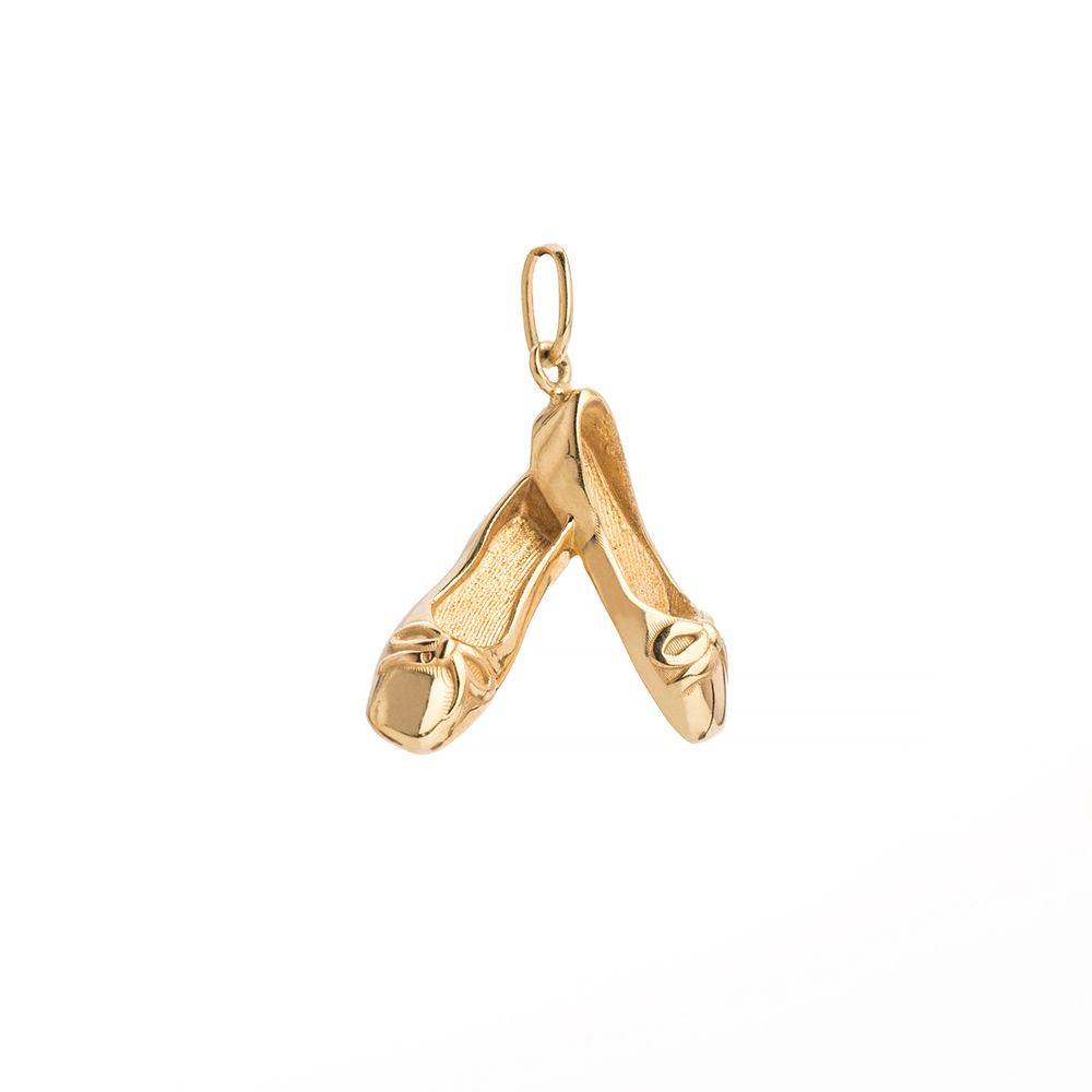 47e2a2f3349 Pingente em Ouro 18k Sapatilha Bailarina com Laço pi18751 - joiasgold