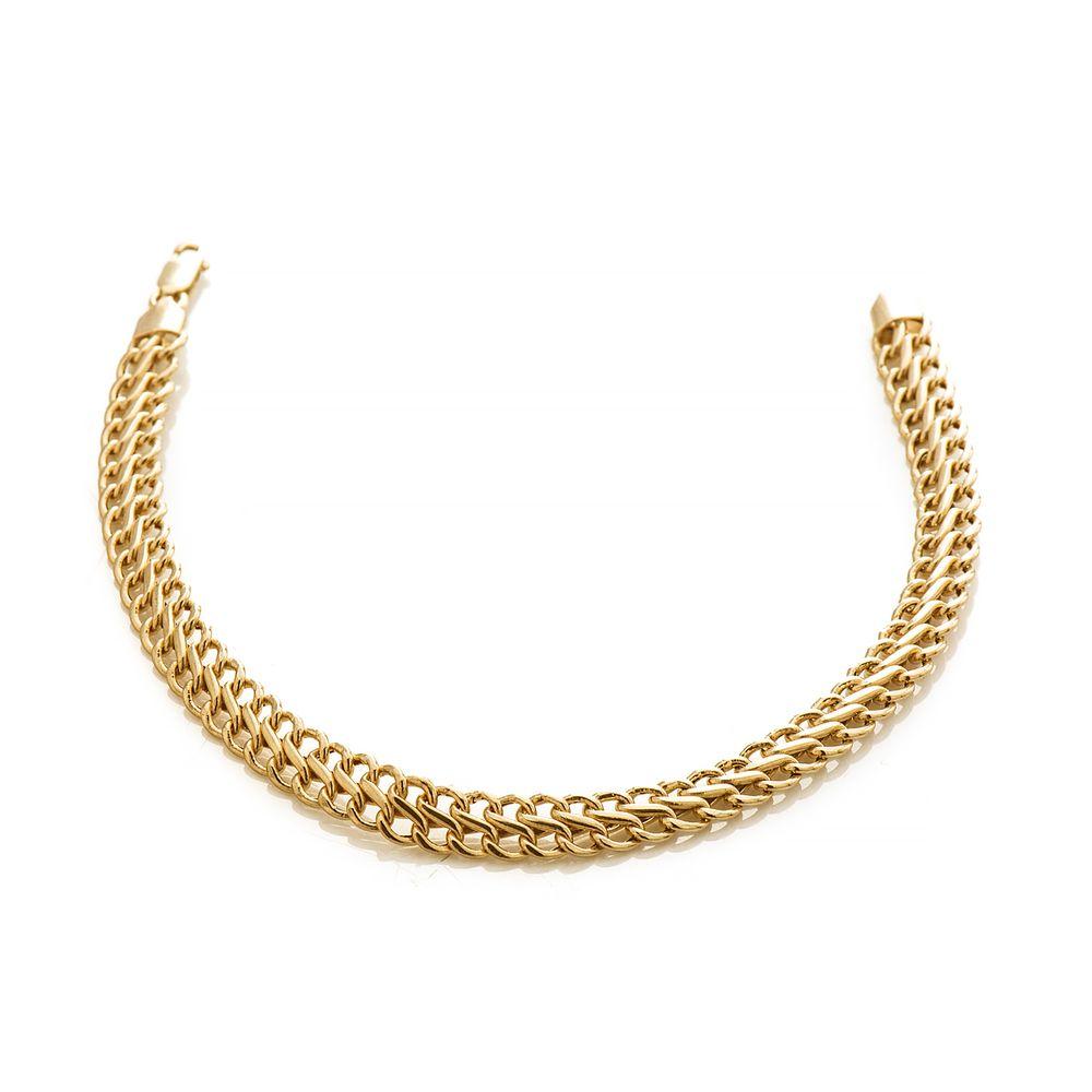 Pulseira em Ouro 18k Malha Lacraia de 6,0mm com 19cm pu03925 - joiasgold b0999ea20c
