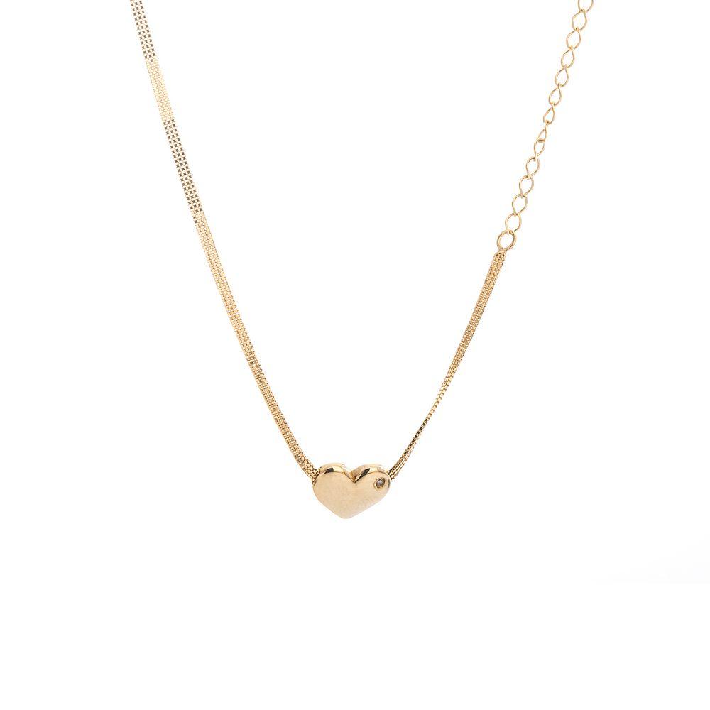 Gargantilha em Ouro 18k Choker Coração com Diamante e Cristal ... 3df529333b