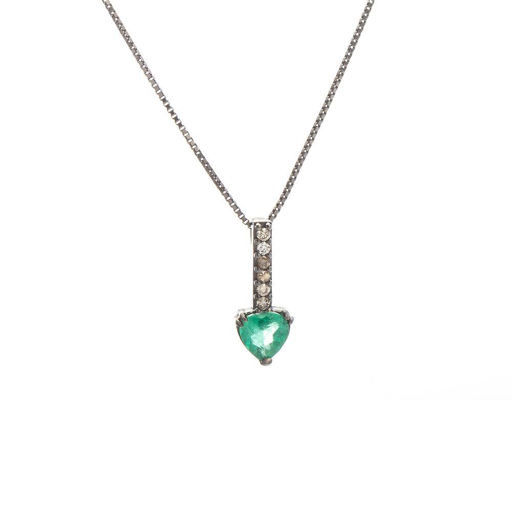 bd3294db877f0 Gargantilha em Ouro Negro 18k Coração Esmeralda com Diamante ga04262 ...
