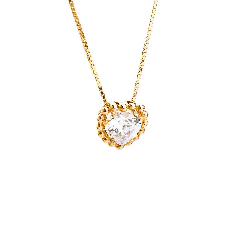694abab0a0fb5 Gargantilha em Ouro 18k Coração Zircônia de 45cm ga03134 - joiasgold
