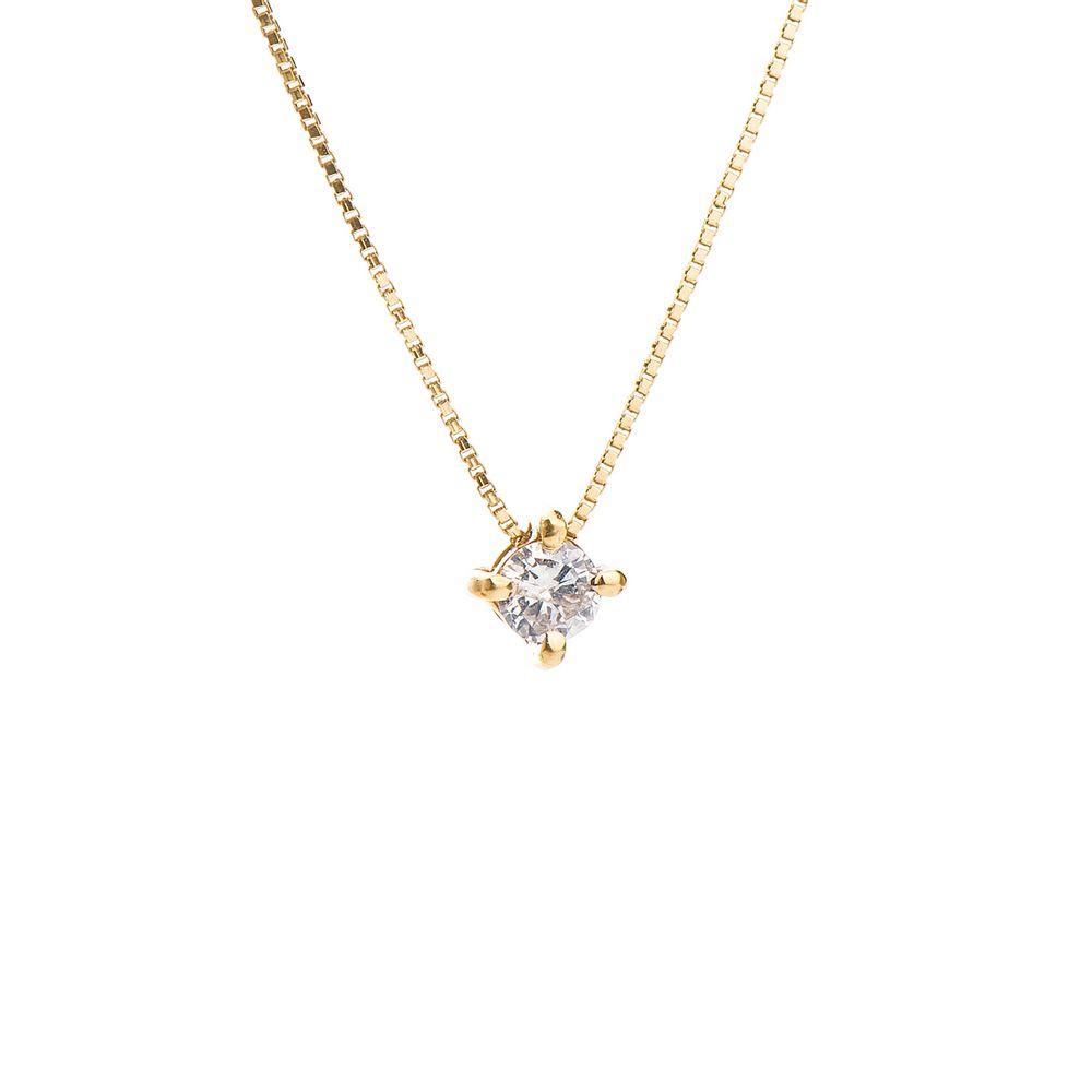 Gargantilha em Ouro Rosê 18k Ponto de Luz Diamante 10 pontos ga00312 ... 282e7979cd