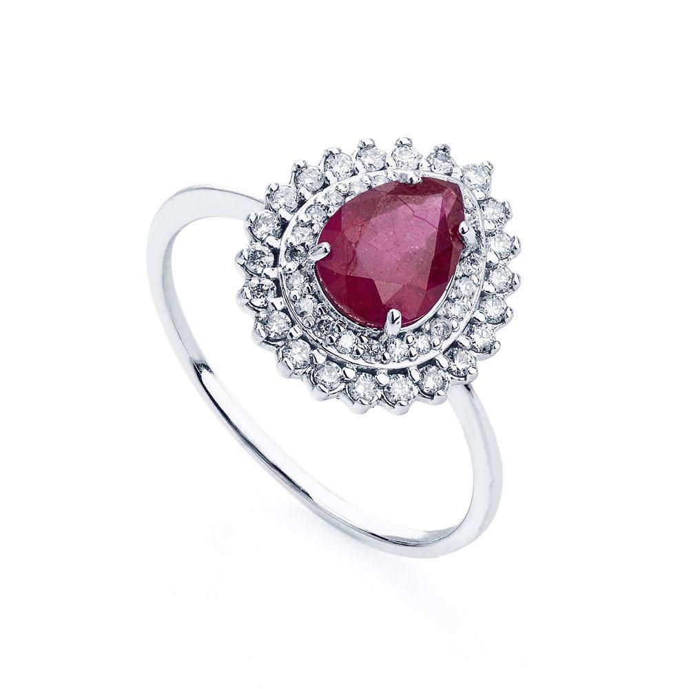 00493513793 Anel em Ouro Branco 18k Gota Rubi com Diamantes an33585 - joiasgold