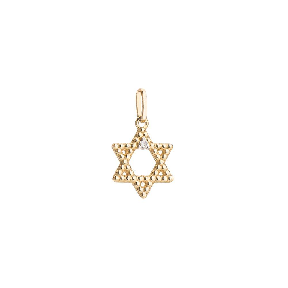 Pingente em Ouro 18k Estrela Davi com Diamante pi18978 - joiasgold 11749ba781