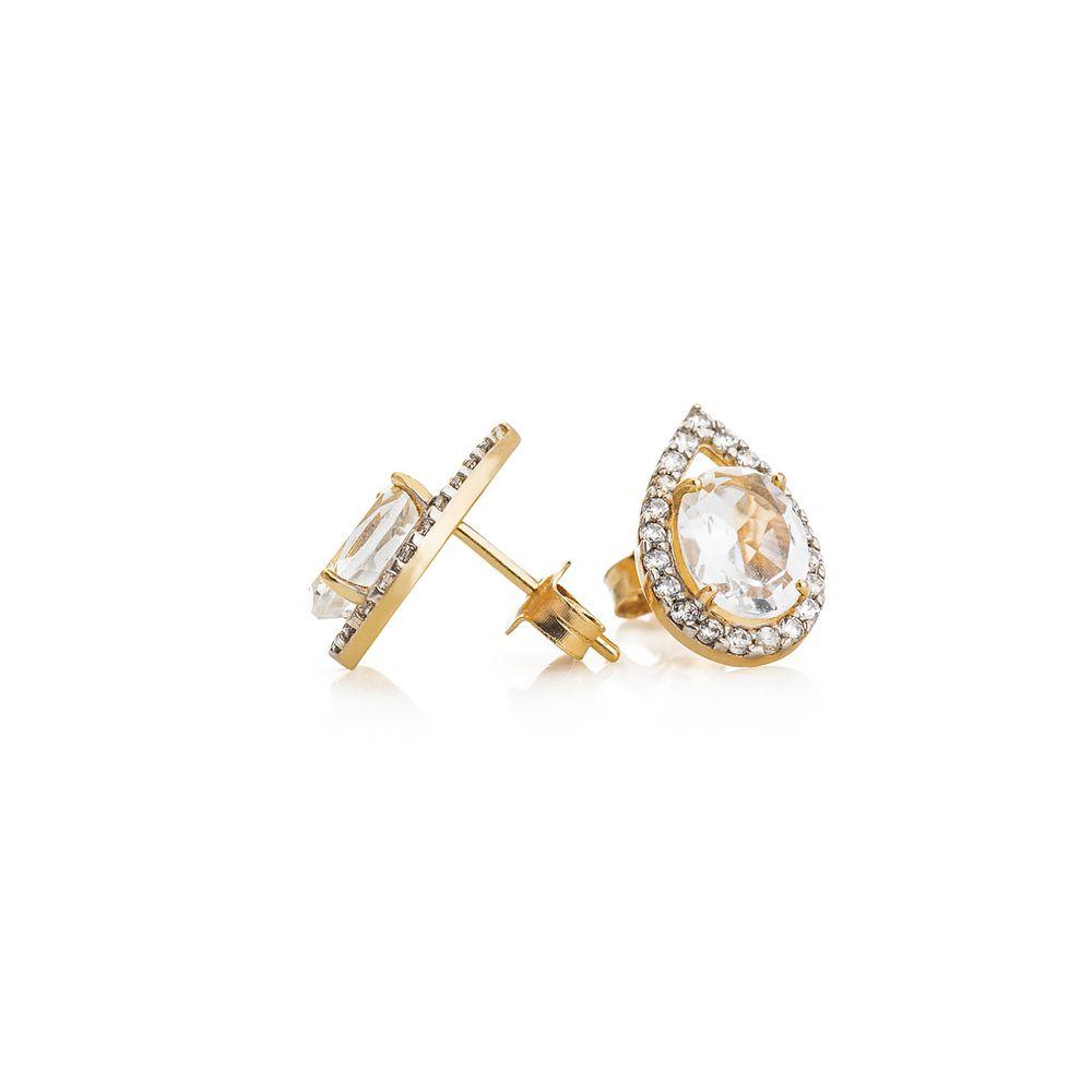 8ac97255fb3 Brinco em Ouro 18k Cristal com Zircônia br20112 - joiasgold
