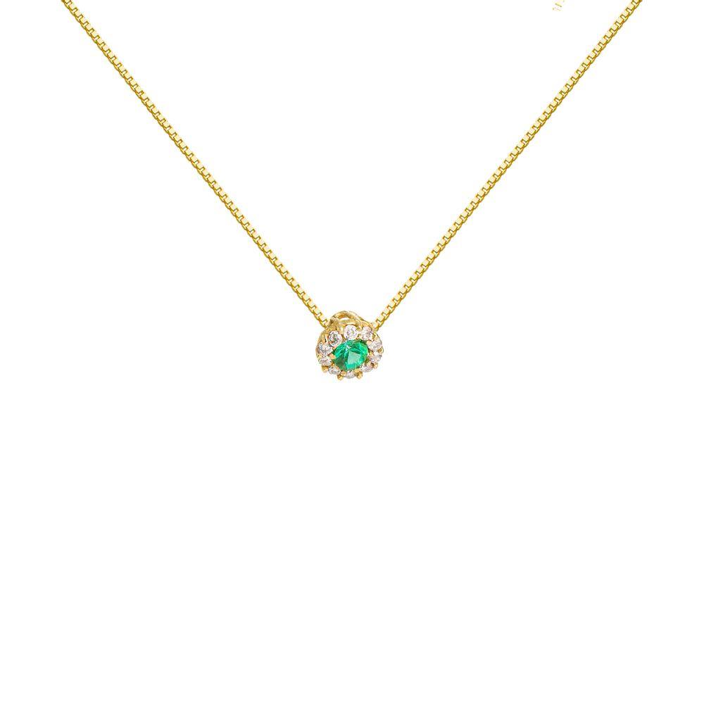 7bc9613b275aa Gargantilha em Ouro 18k Esmeralda Redonda Borda com 10 Diamantes ...