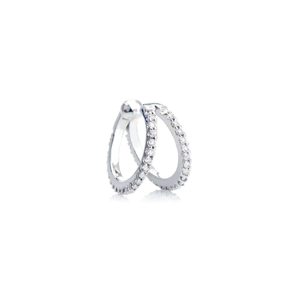 Piercing de Orelha em Ouro Branco 18k 44 Diamantes ac07099 - joiasgold 48f3844536