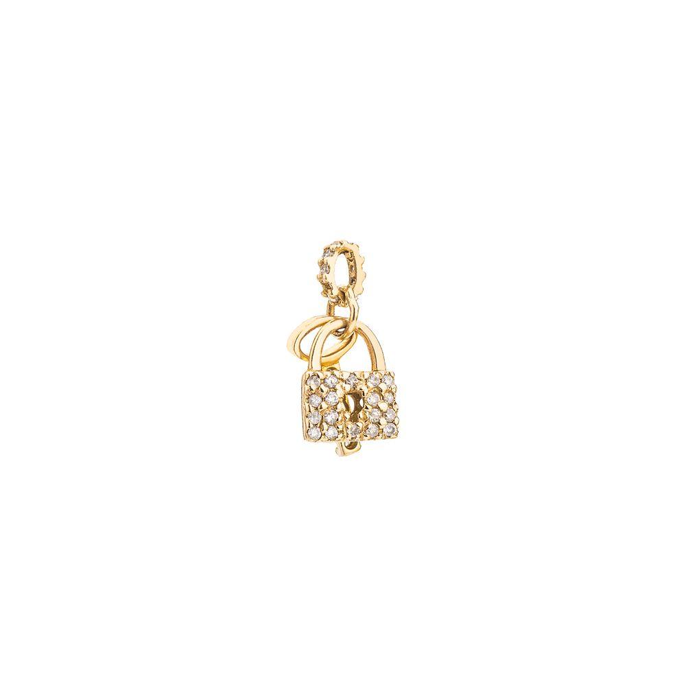 543eb13e3e3 Pingente em Ouro 18k Cadeado com Chave e Diamantes pi18598 Outlet ...