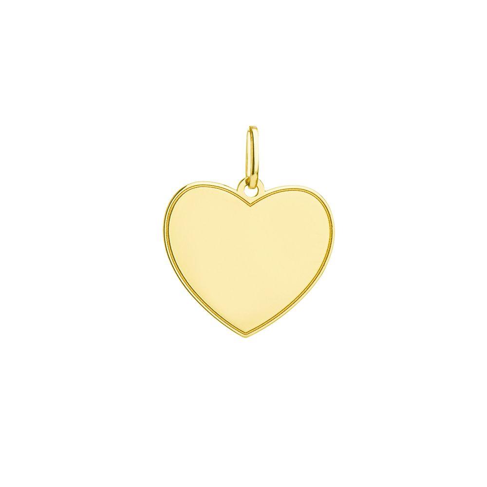 Pingente em Ouro 18k Fotogravação Coração pi19623 - joiasgold 402bbc6c3b
