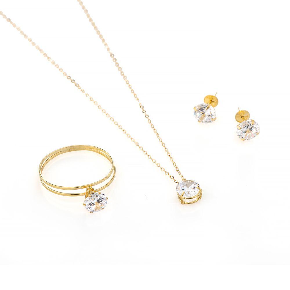 8dc75d083363e Conjunto de Ouro 18k Anel, Brinco e Gargantilha Ponto de Luz cj00186 ...