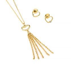Conjunto de Ouro 18k Brinco e Gargantilha de Coração cj00188 817f5dde41f9b