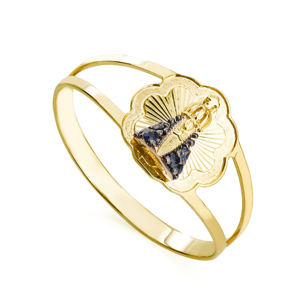 ce1bd34d076f7 Anel em Ouro 18k Nossa Senhora Aparecida com Safiras an35532 - joiasgold