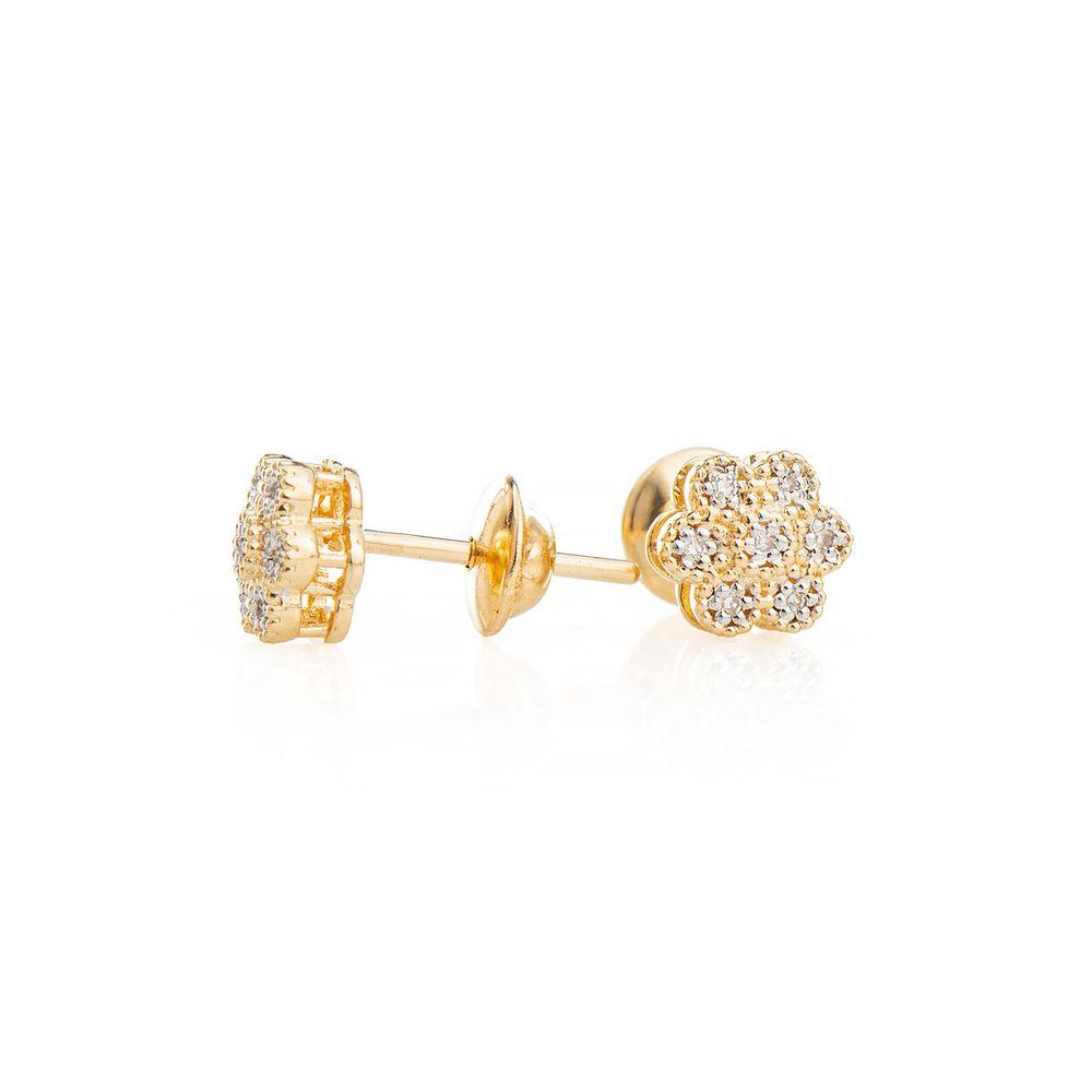 Brinco em Ouro 18k Chuveiro Flor com Diamantes br23265 - joiasgold cd253c42f5