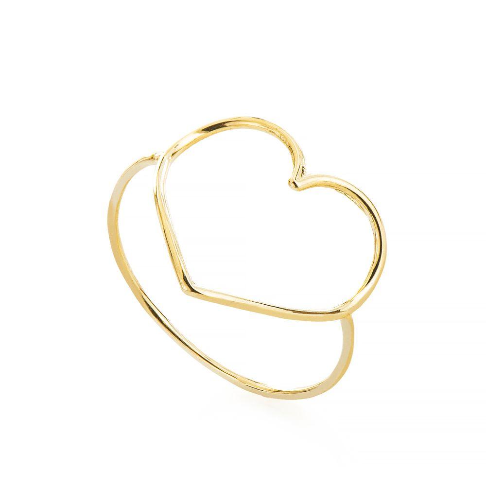 Anel em Ouro 18k Coração Vazado Borda Lisa an34916 - joiasgold 9eb61667b4