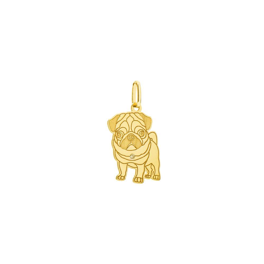 Pingente em Ouro 18k Cachorro com Diamante pi19617 - Joiasgold b6963544ef