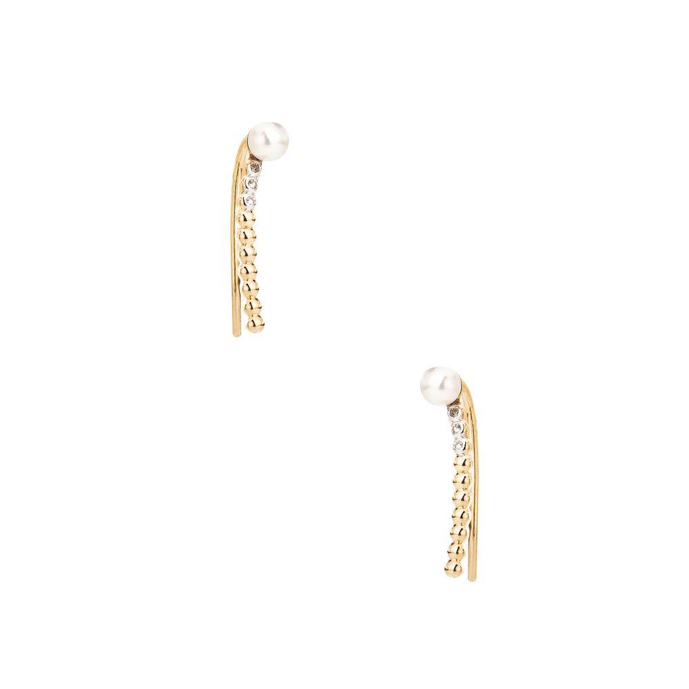 56718eef4d2 Brinco em Ouro 18k Ear Cuff Palito com Diamantes e Pérolas br23283 ...