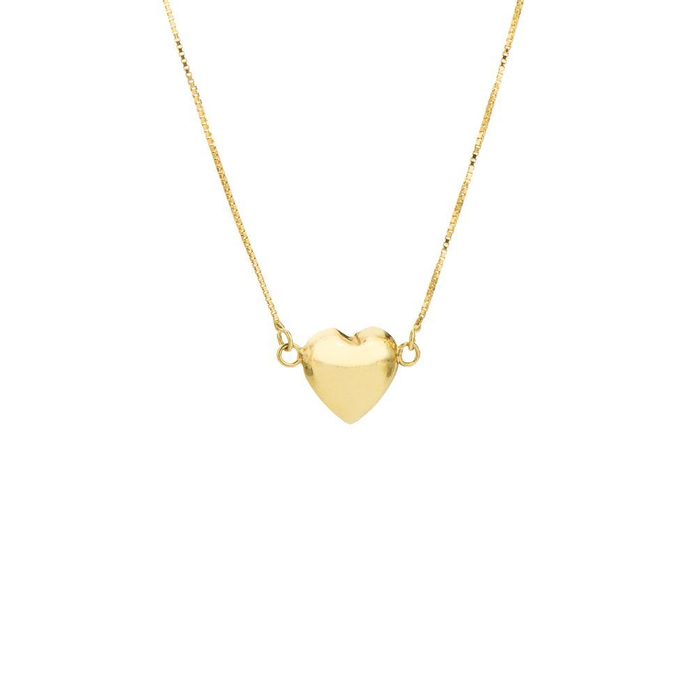 28086f10be916 Gargantilha em Ouro 18k Coração Liso com 45cm ga04563 - joiasgold