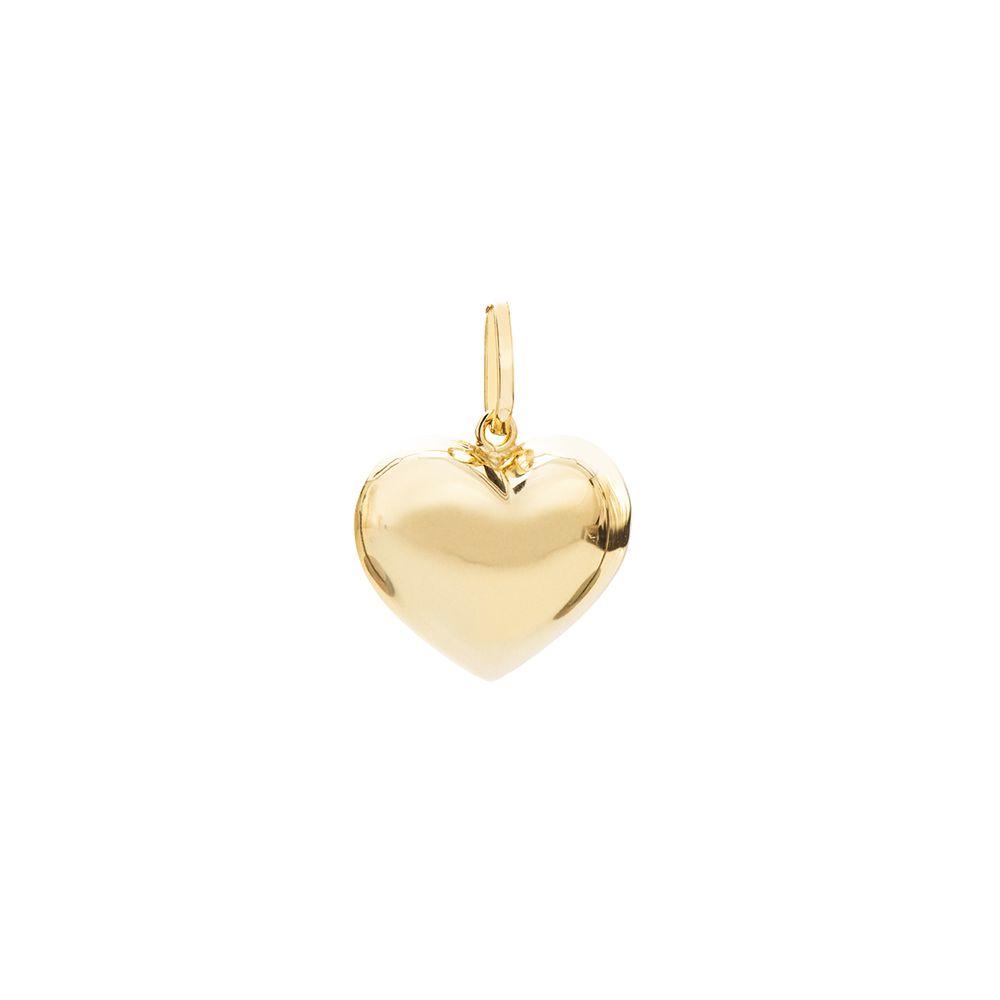 Pingente em Ouro 18k Coração Oco pi19701 - joiasgold 088b67588f