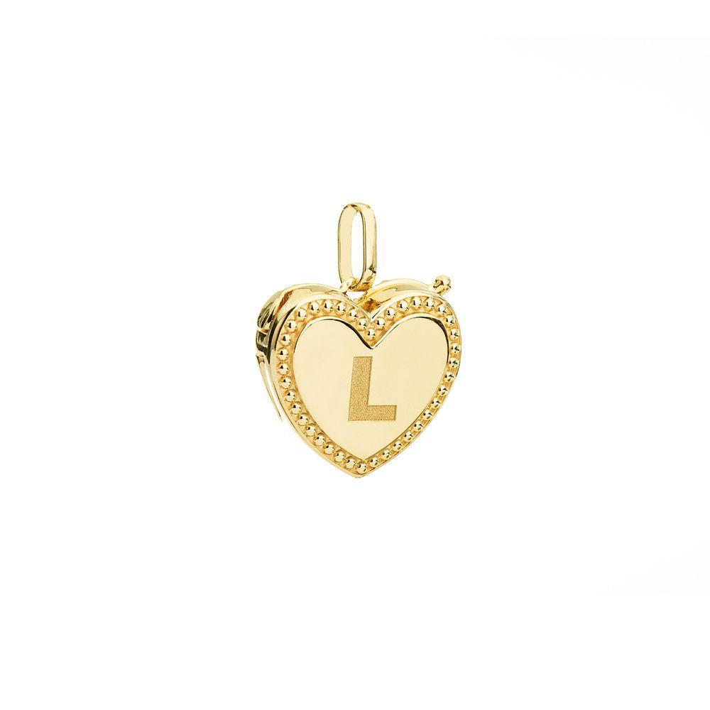 Pingente em Ouro 18k Relicário Coração Letra L pi19812 - joiasgold 293d42fa59