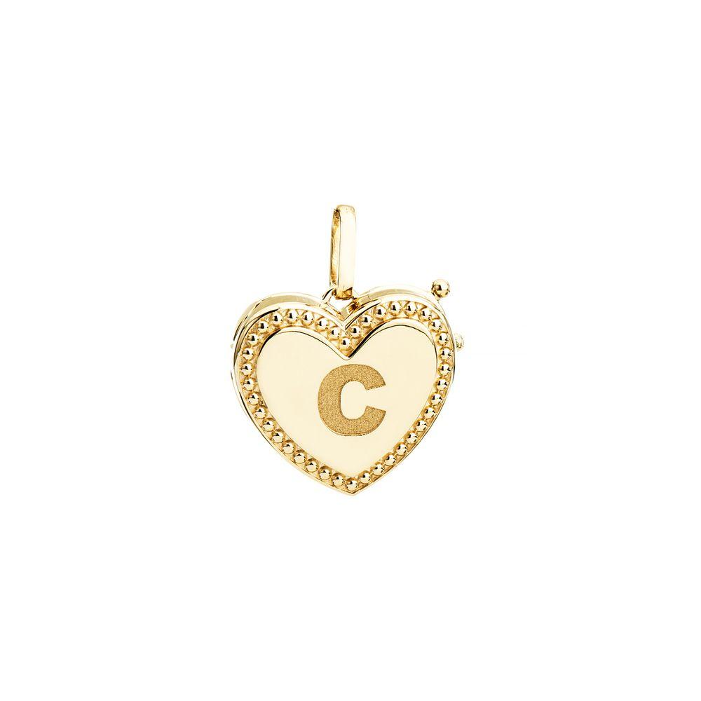 4d5e108959b60 Pingente em Ouro 18k Relicário Coração Letra C - joiasgold