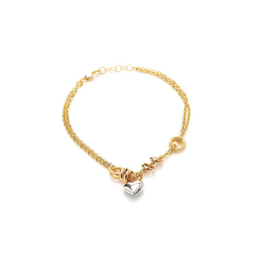 872760a1bd90f Pulseira em Ouro 18k Coração em Ouro Branco com 19cm pu04895 - joiasgold
