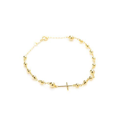 Pulseira-em-Ouro-18k-Cruz-Palito-Liso-Bolas-Cartier-18cm-pu05050-joiasgold