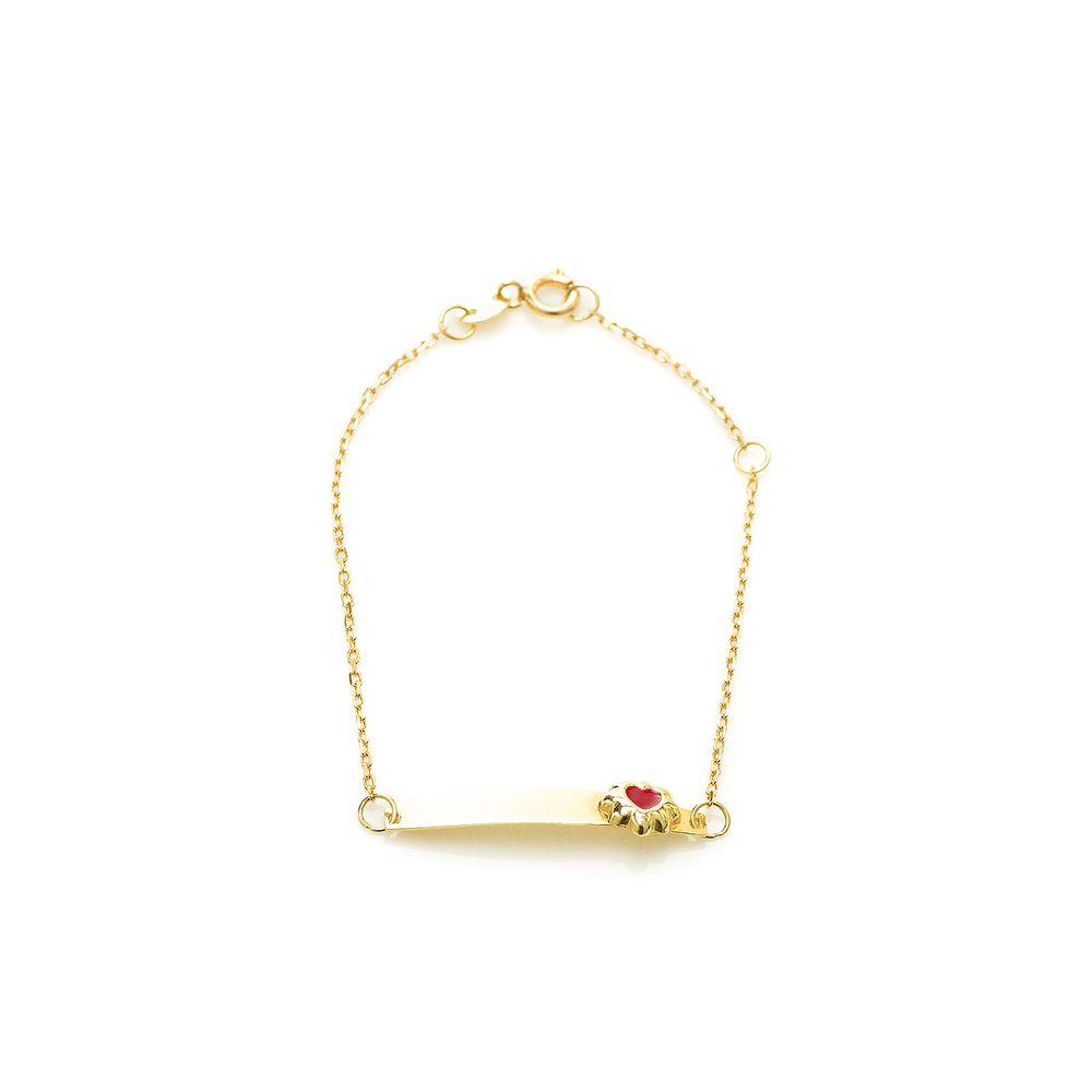 Pulseira em Ouro 18k Infantil Placa Flor Coração Resina Vermelha ... 1862a72049