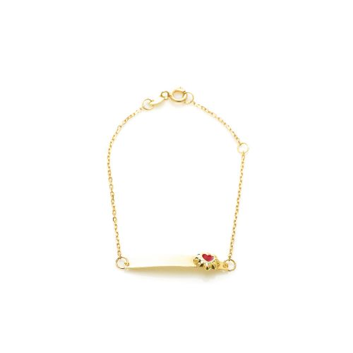 Pulseira-em-Ouro-18k-Infantil-Placa-Flor-Coracao-Resina-Vermelha-pu049--joiasgold