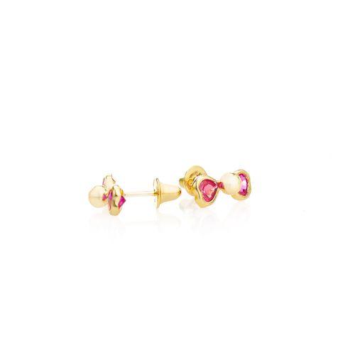 Brinco-em-Ouro-18k-Laco-Zirconia-Vermelha-Bola-no-Centro-br23622-joiasgold