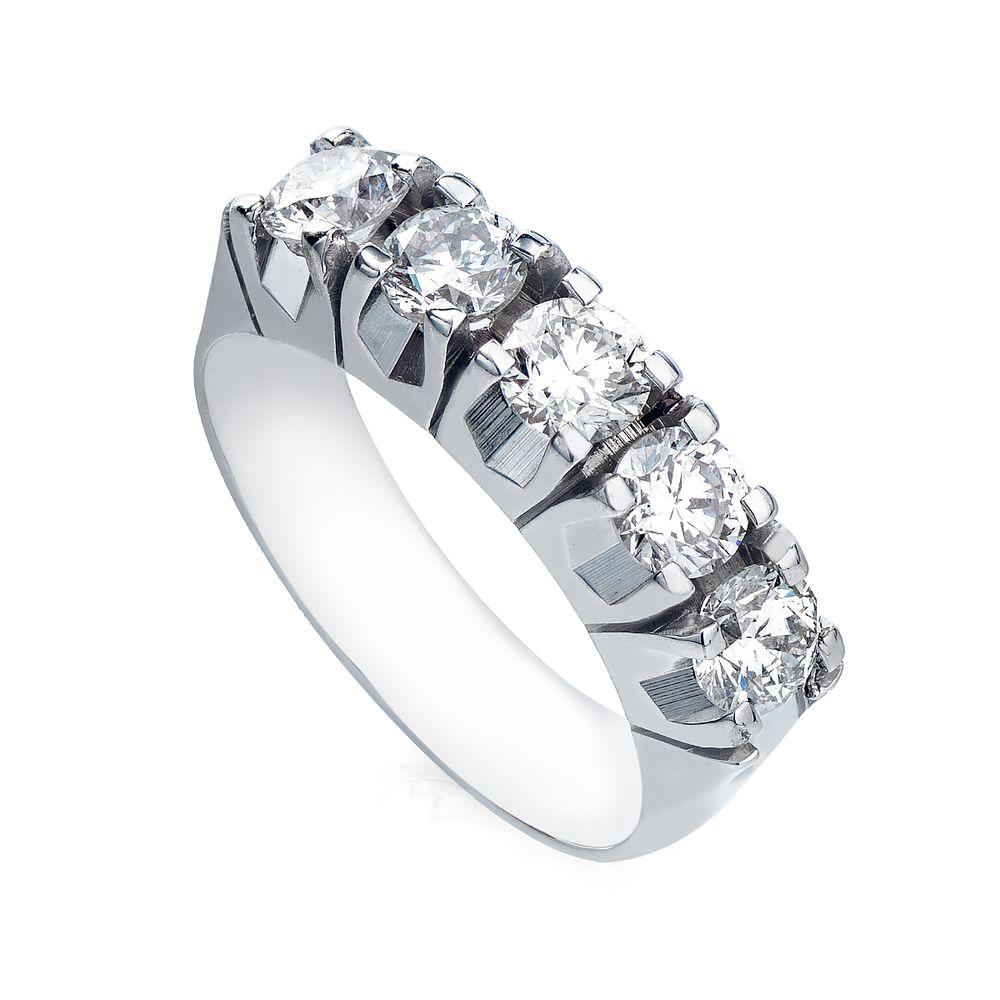 Anel em Ouro Branco 18k Meia Aliança Diamantes 25 Pontos an35973 ... 0531f6cc4f