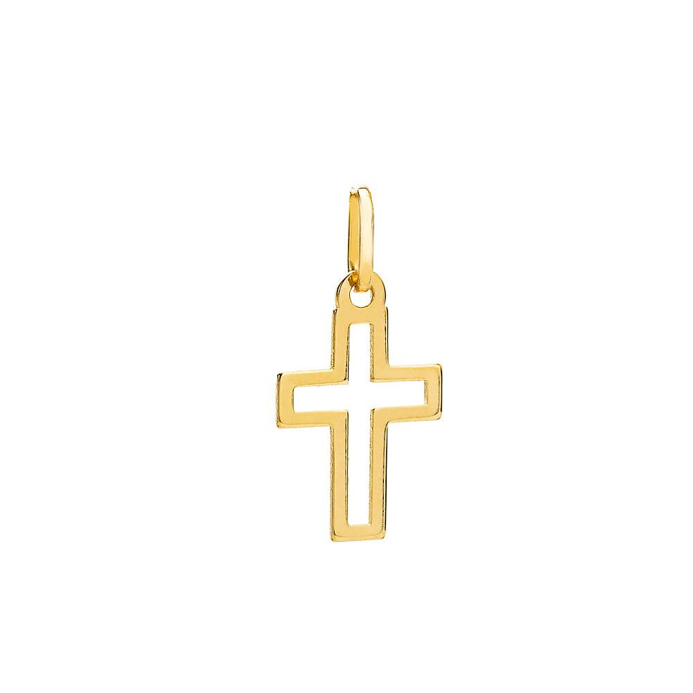 d4ac3b3d2b764 Pingente em Ouro 18k Cruz Vazada pi19098 - joiasgold