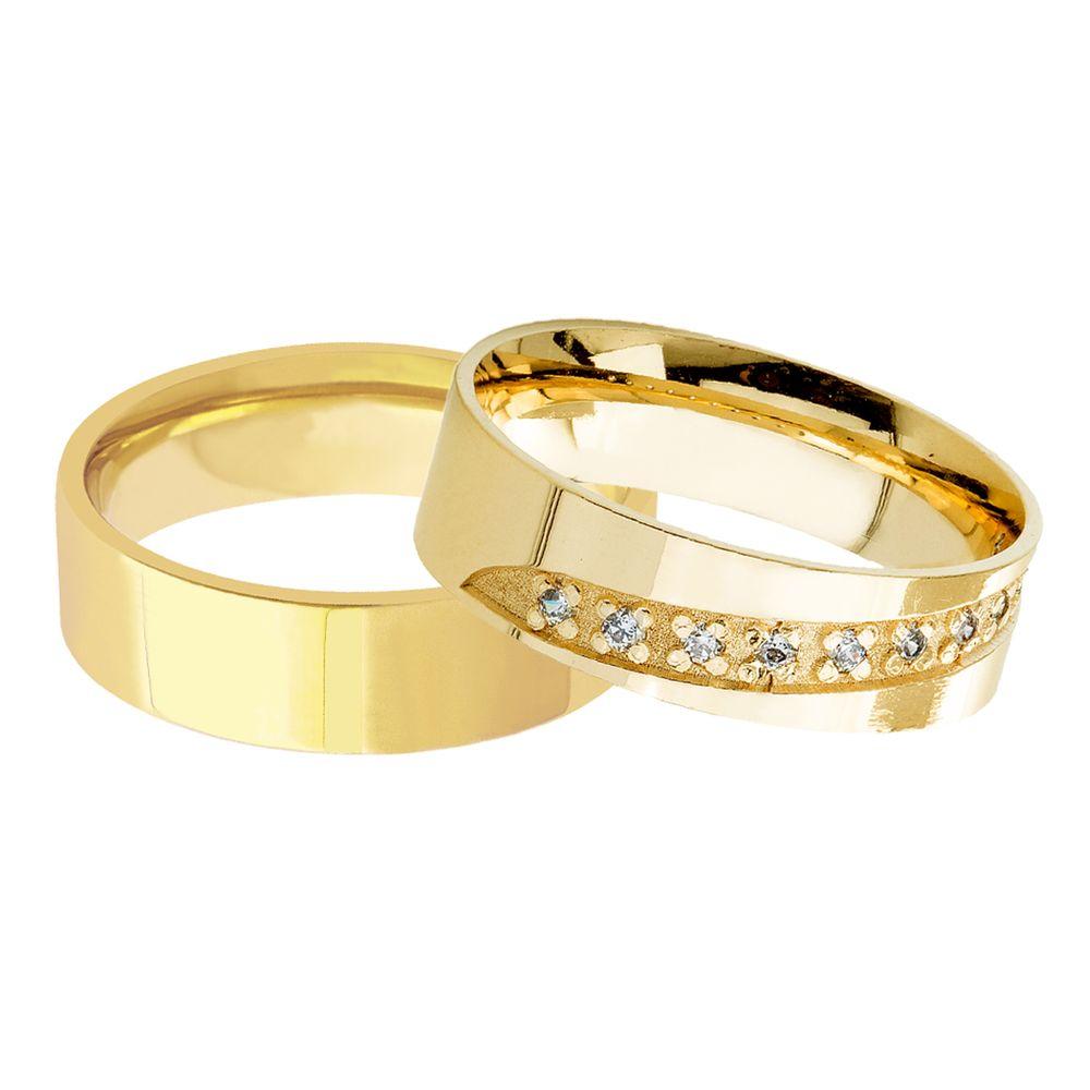 ead28555bdb Par de Aliança em Ouro 18k Casamento Anatômica Reta 6