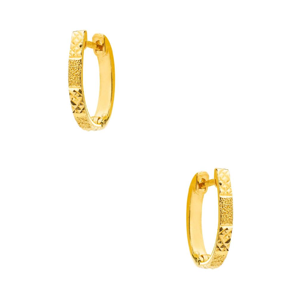 5ac21a3e250af Brinco em Ouro 18k Argola Trabalhada Diamantada br23197 - joiasgold