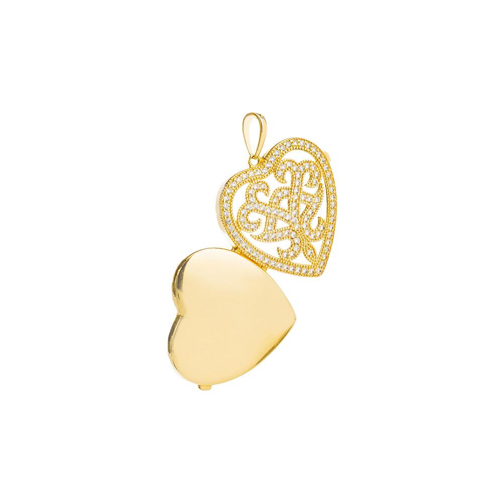 Pingente em Ouro 18k Relicário Coração Vazado com Zircônia pi19574 ... ed8a5d432d