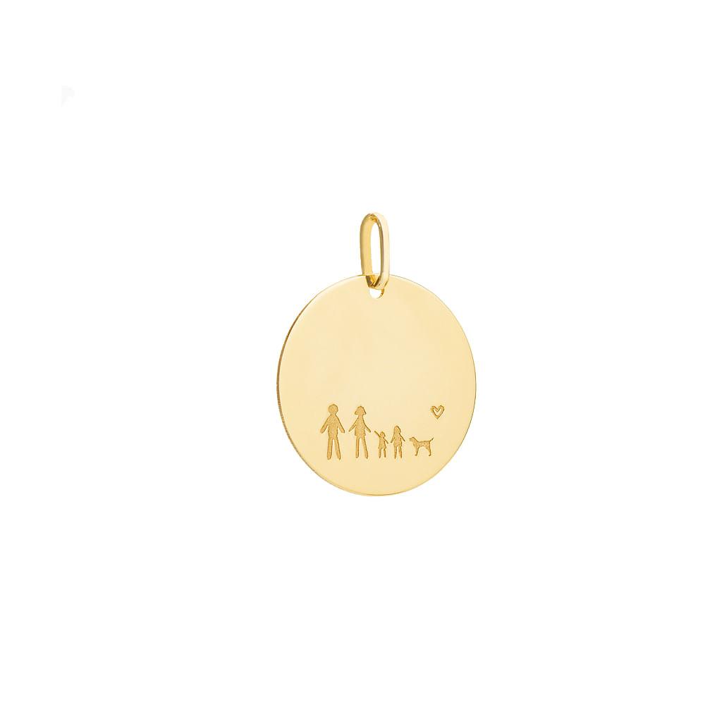 Pingente em Ouro 18k Placa Redonda com Família pi19844 - joiasgold 0a7dd57aaf